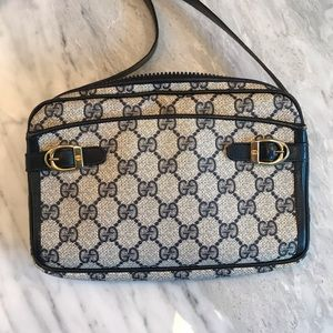 Vintage Gucci crossbody logo print bag navy blue